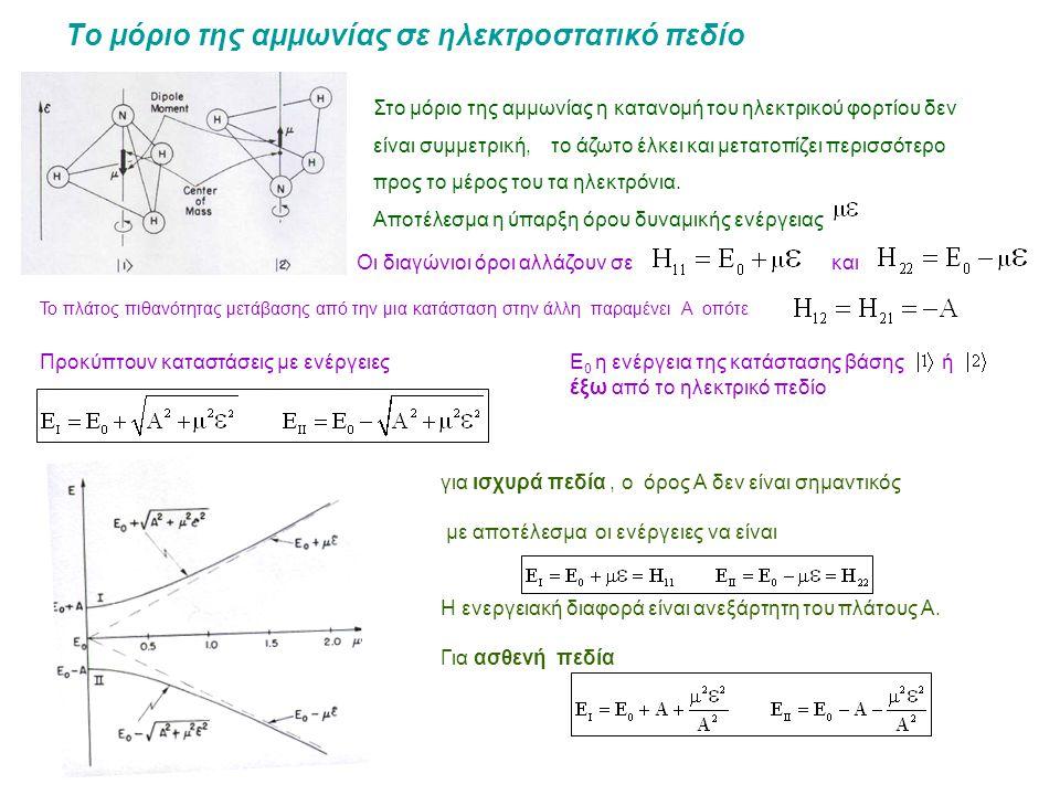 Το μόριο της αμμωνίας σε ηλεκτροστατικό πεδίο Στο μόριο της αμμωνίας η κατανομή του ηλεκτρικού φορτίου δεν είναι συμμετρική, το άζωτο έλκει και μετατοπίζει περισσότερο προς το μέρος του τα ηλεκτρόνια.