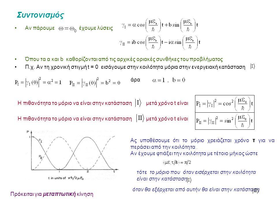 Συντονισμός Αν πάρουμε έχουμε λύσεις Όπου τα α και b καθορίζονται από τις αρχικές οριακές συνθήκες του προβλήματος Π.χ.