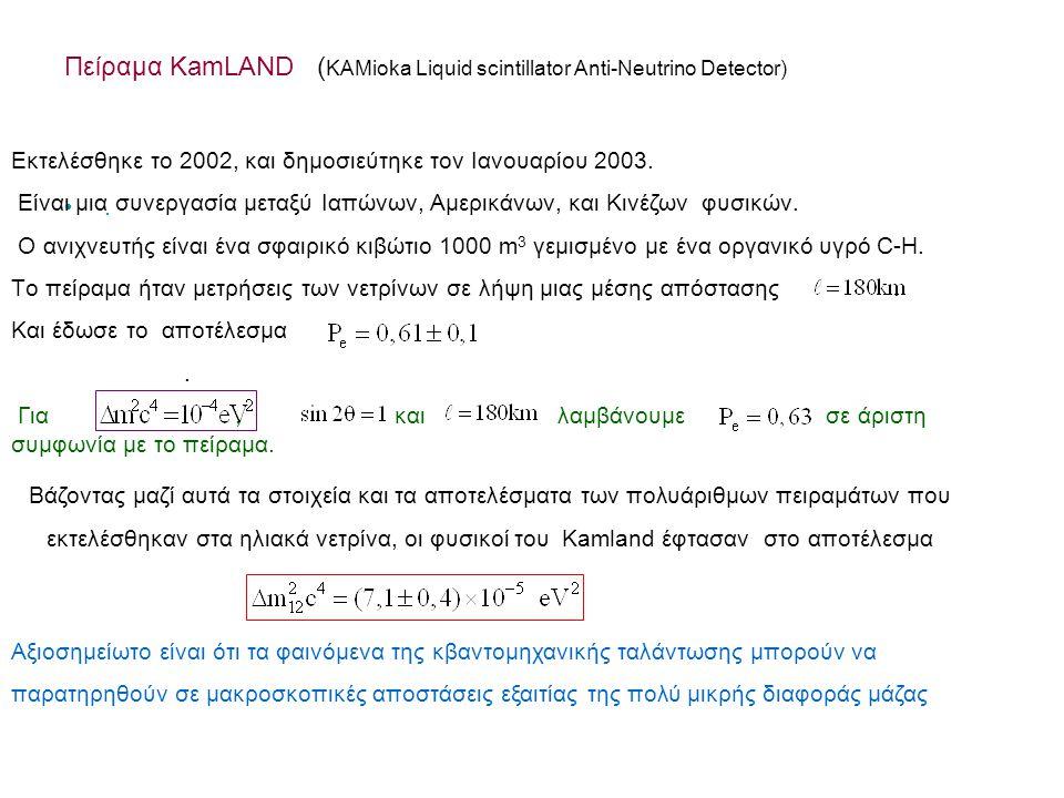 Πείραμα KamLAND ( KAMioka Liquid scintillator Anti-Neutrino Detector).