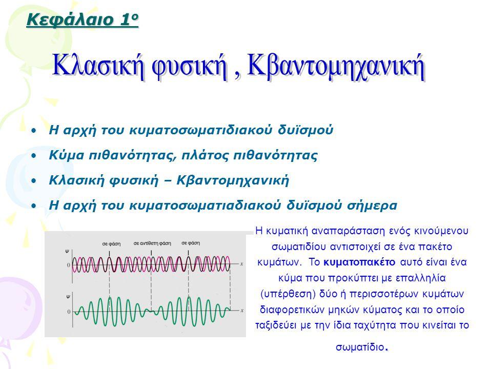Κεφάλαιο 1 ο Κεφάλαιο 1 ο Η αρχή του κυματοσωματιδιακού δυϊσμού Κύμα πιθανότητας, πλάτος πιθανότητας Κλασική φυσική – Κβαντομηχανική Η αρχή του κυματοσωματιαδιακού δυϊσμού σήμερα.