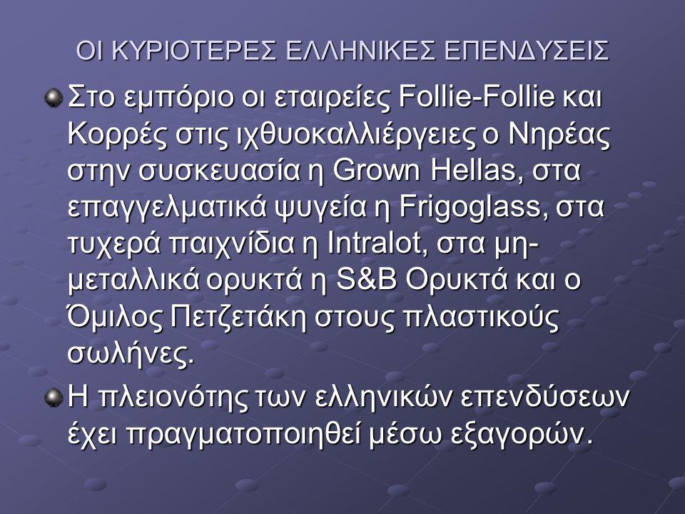 ΟΙ ΚΥΡΙΟΤΕΡΕΣ ΕΛΛΗΝΙΚΕΣ ΕΠΕΝΔΥΣΕΙΣ Στο εμπόριο οι εταιρείες Follie-Follie και Κορρές στις ιχθυοκαλλιέργειες ο Νηρέας στην συσκευασία η Grown Hellas, στα επαγγελματικά ψυγεία η Frigoglass, στα τυχερά παιχνίδια η Intralot, στα μη- μεταλλικά ορυκτά η S&B Ορυκτά και ο Όμιλος Πετζετάκη στους πλαστικούς σωλήνες.