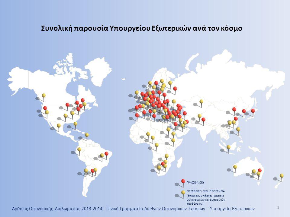 Δράσεις Οικονομικής Διπλωματίας 2013-2014 - Γενική Γραμματεία Διεθνών Οικονομικών Σχέσεων - Υπουργείο Εξωτερικών 2 ΓΡΑΦΕΙΑ ΟΕΥ ΠΡΕΣΒΕΙΕΣ/ ΓΕΝ. ΠΡΟΞΕΝΕ