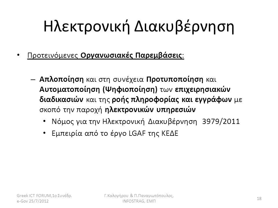 Ηλεκτρονική Διακυβέρνηση Προτεινόμενες Οργανωσιακές Παρεμβάσεις: – Απλοποίηση και στη συνέχεια Προτυποποίηση και Αυτοματοποίηση (Ψηφιοποίηση) των επιχ