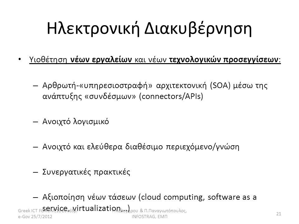Ηλεκτρονική Διακυβέρνηση Υιοθέτηση νέων εργαλείων και νέων τεχνολογικών προσεγγίσεων: – Αρθρωτή-«υπηρεσιοστραφή» αρχιτεκτονική (SOA) μέσω της ανάπτυξη