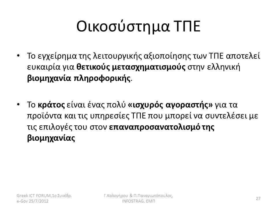 Οικοσύστημα ΤΠΕ Το εγχείρημα της λειτουργικής αξιοποίησης των ΤΠΕ αποτελεί ευκαιρία για θετικούς μετασχηματισμούς στην ελληνική βιομηχανία πληροφορική