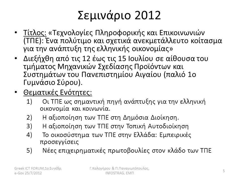 Σεμινάριο 2012 Τίτλος: «Τεχνολογίες Πληροφορικής και Επικοινωνιών (ΤΠΕ): Ένα πολύτιμο και σχετικά ανεκμετάλλευτο κοίτασμα για την ανάπτυξη της ελληνικ