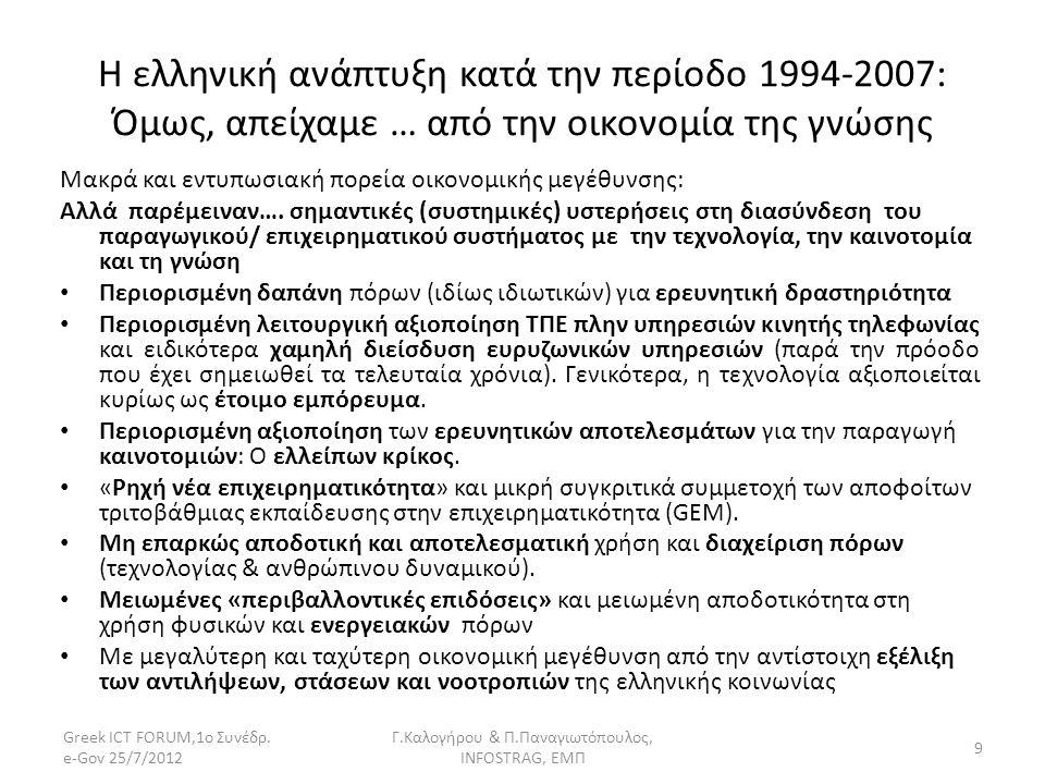Η ελληνική ανάπτυξη κατά την περίοδο 1994-2007: Όμως, απείχαμε … από την οικονομία της γνώσης Μακρά και εντυπωσιακή πορεία οικονομικής μεγέθυνσης: Αλλ