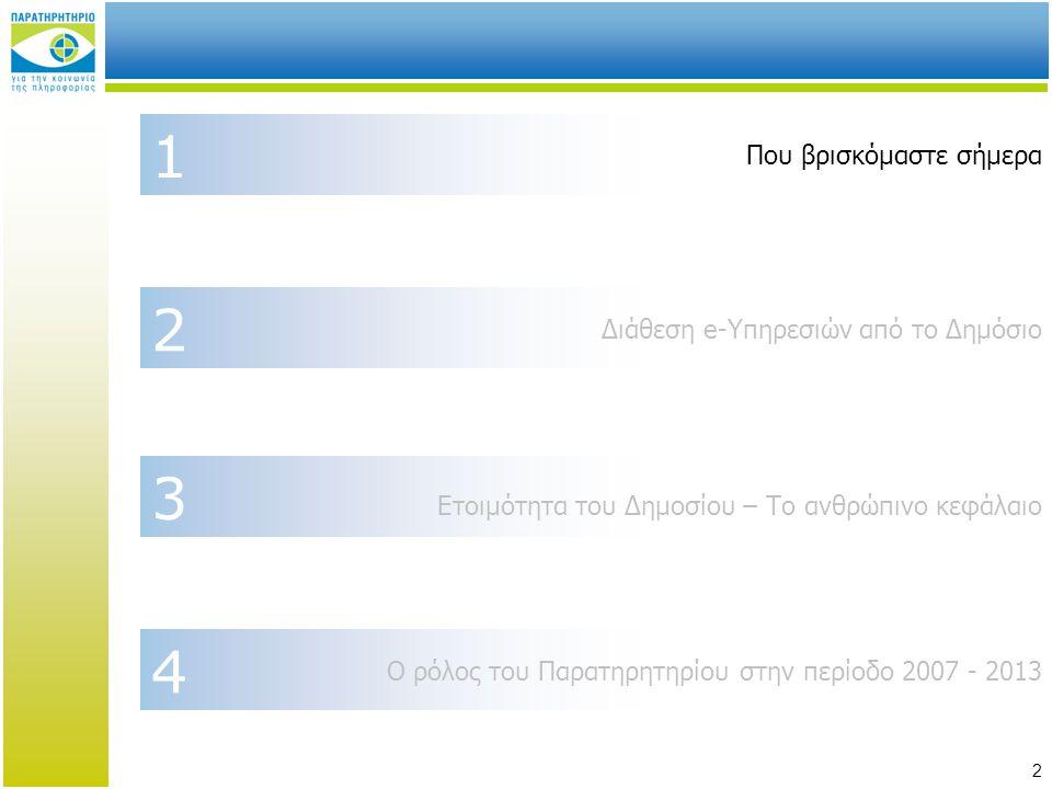 13 1 Που βρισκόμαστε σήμερα 2 Διάθεση e-Υπηρεσιών από το Δημόσιο 3 4 Ετοιμότητα του Δημοσίου – Το ανθρώπινο κεφάλαιο Ο ρόλος του Παρατηρητηρίου στην περίοδο 2007 - 2013