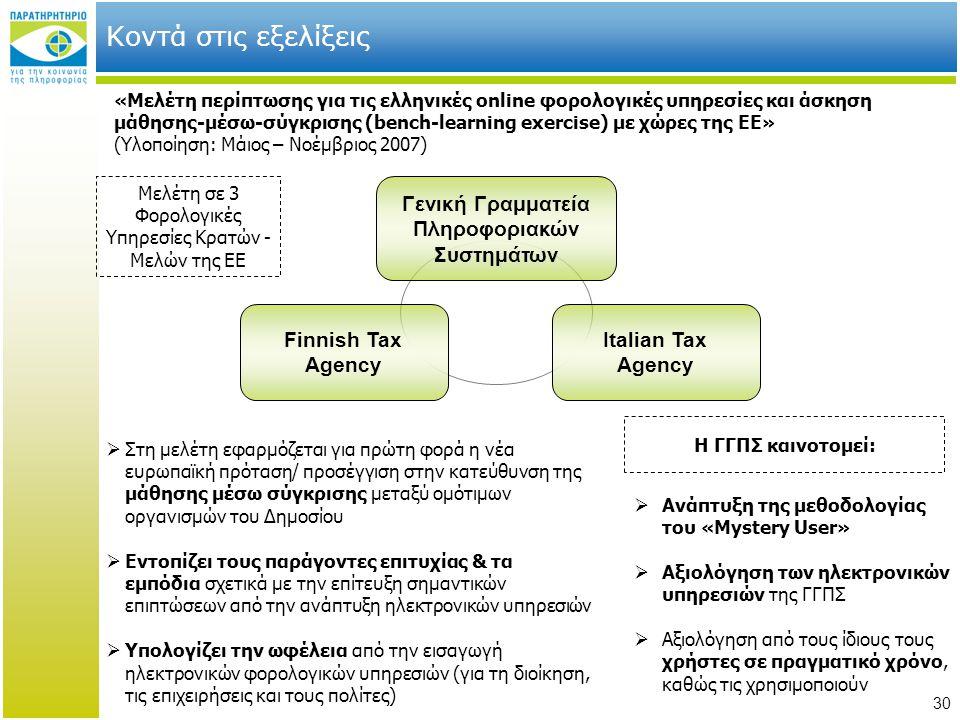 30 Κοντά στις εξελίξεις «Μελέτη περίπτωσης για τις ελληνικές online φορολογικές υπηρεσίες και άσκηση μάθησης-μέσω-σύγκρισης (bench-learning exercise)