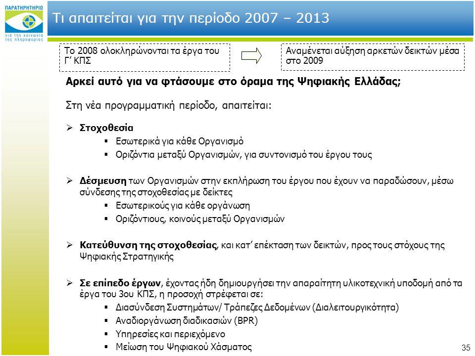 35 Τι απαιτείται για την περίοδο 2007 – 2013 Το 2008 ολοκληρώνονται τα έργα του Γ' ΚΠΣ Αναμένεται αύξηση αρκετών δεικτών μέσα στο 2009 Αρκεί αυτό για