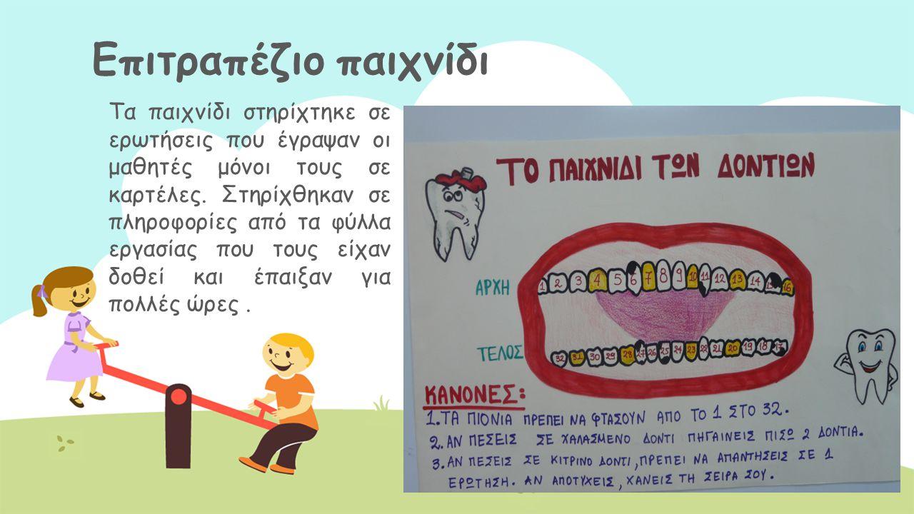 Πλύσιμο δοντιών Αφού δόθηκαν οι απαραίτητες οδηγίες οι μαθητές έπλυναν τα δόντια τους.