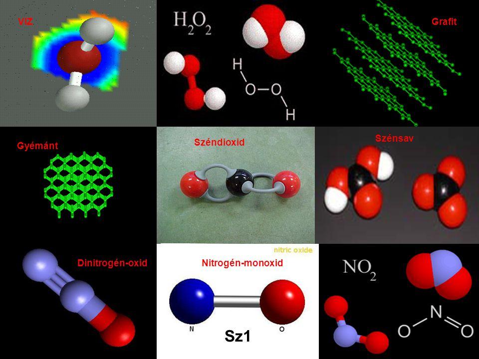 Sz1 VIZ Grafit Gyémánt Széndioxid Dinitrogén-oxidNitrogén-monoxid Szénsav