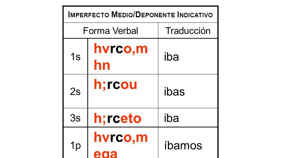 I MPERFECTO M EDIO /D EPONENTE I NDICATIVO Forma VerbalTraducción 1s hvrco,m hn iba 2s h;rcou ibas 3s h;rceto iba 1p hvrco,m eqa íbamos 2p h;rcesqe iban 3p h;rconto iban