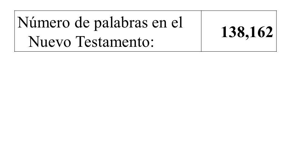 Número de palabras en el Nuevo Testamento: 138,162