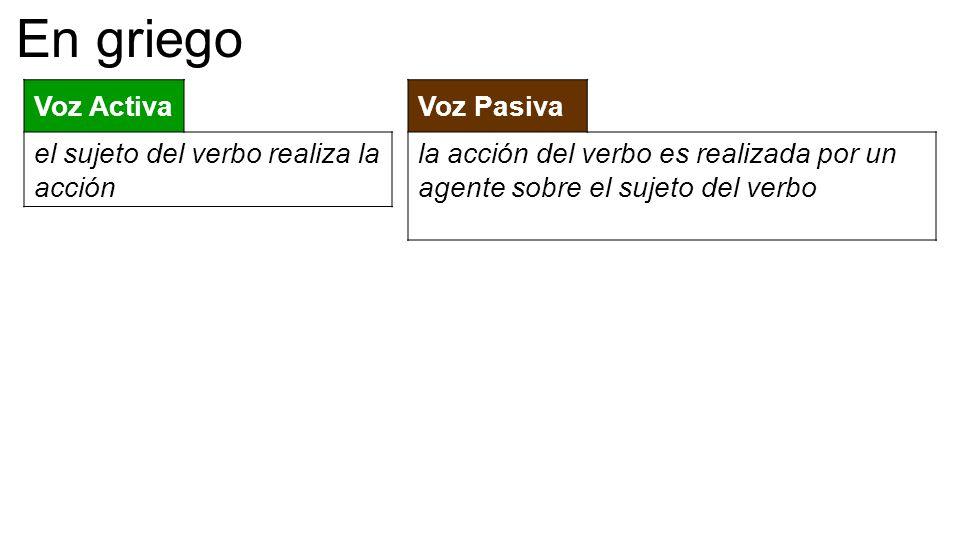 Voz Activa el sujeto del verbo realiza la acción Voz Pasiva la acción del verbo es realizada por un agente sobre el sujeto del verbo En griego