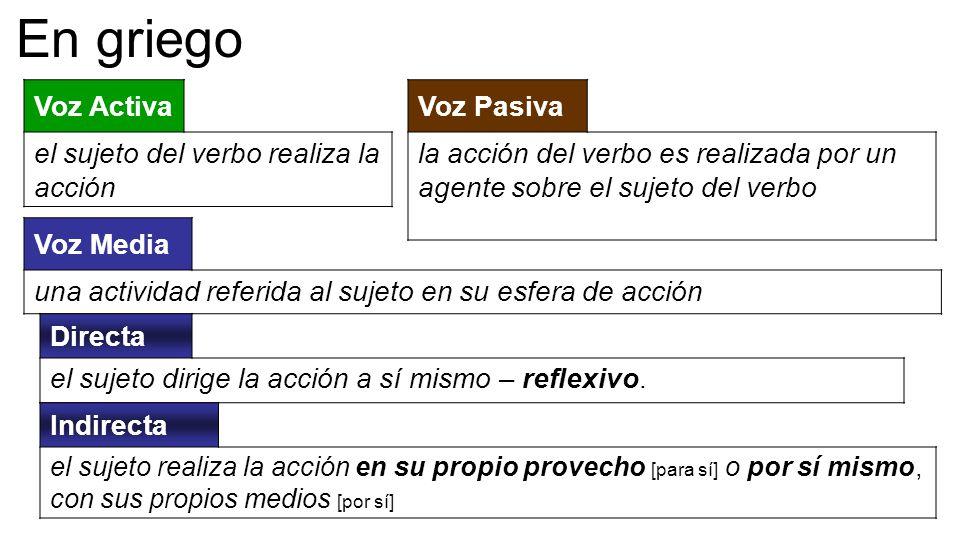 Voz Activa el sujeto del verbo realiza la acción Voz Pasiva la acción del verbo es realizada por un agente sobre el sujeto del verbo En griego Voz Med