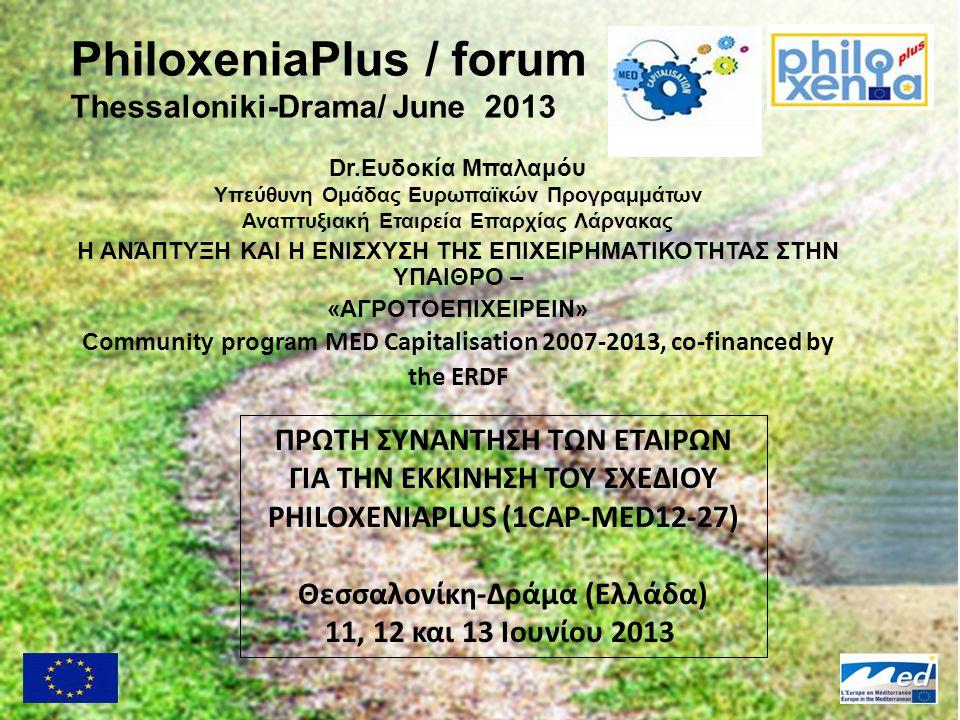 PhiloxeniaPlus / forum Thessaloniki-Drama/ June 2013 Dr.Ευδοκία Μπαλαμόυ Υπεύθυνη Ομάδας Ευρωπαϊκών Προγραμμάτων Αναπτυξιακή Εταιρεία Επαρχίας Λάρνακα