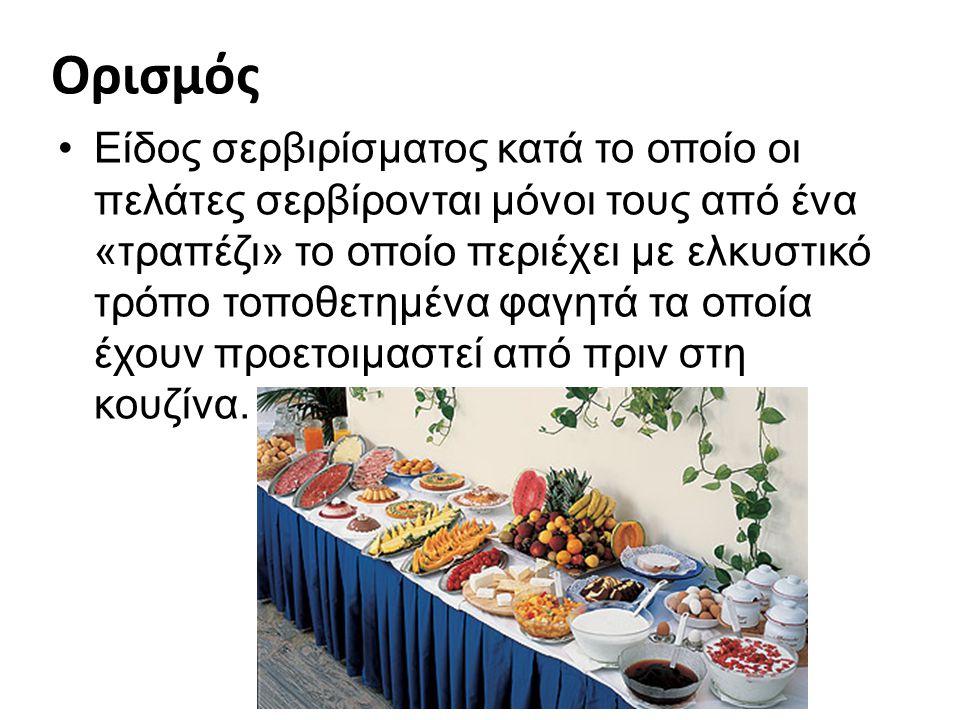 Ορισμός Είδος σερβιρίσματος κατά το οποίο οι πελάτες σερβίρονται μόνοι τους από ένα «τραπέζι» το οποίο περιέχει με ελκυστικό τρόπο τοποθετημένα φαγητά τα οποία έχουν προετοιμαστεί από πριν στη κουζίνα.