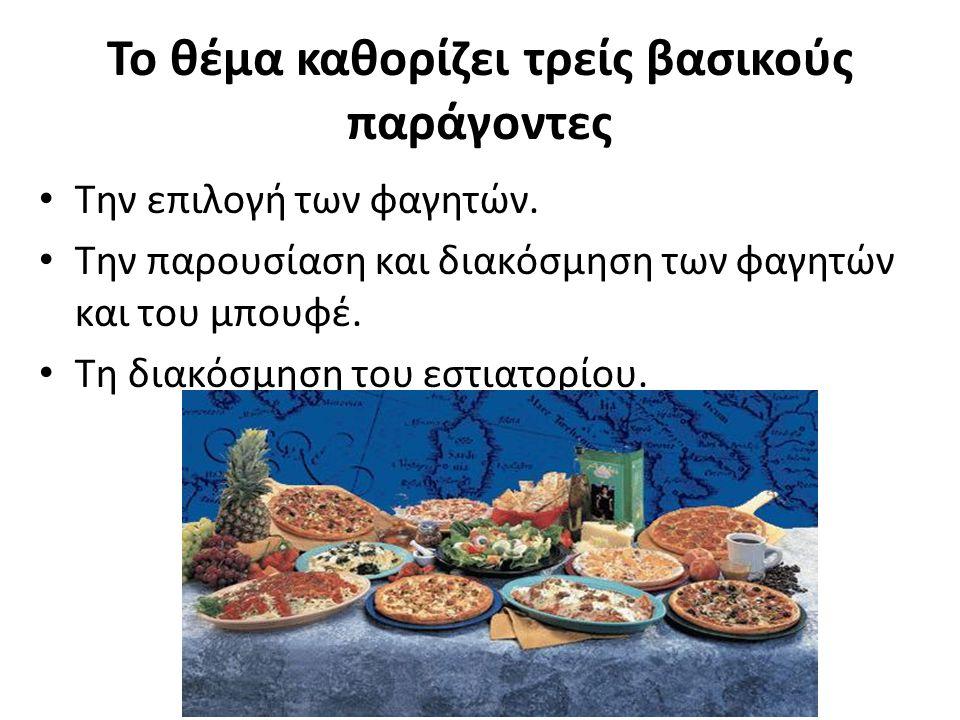 Το θέμα καθορίζει τρείς βασικούς παράγοντες Την επιλογή των φαγητών. Την παρουσίαση και διακόσμηση των φαγητών και του μπουφέ. Τη διακόσμηση του εστια