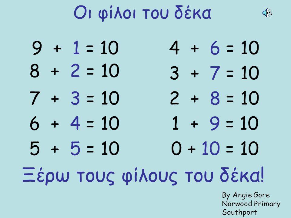 Οι φίλοι του δέκα 9 + 1 = 10 8 + 2 = 10 7 + 3 = 10 6 + 4 = 10 5 + 5 = 10 4 + 6 = 10 3 + 7 = 10 2 + 8 = 10 1 + 9 = 10 0 + 10 = 10 Ξέρω τους φίλους του δέκα.