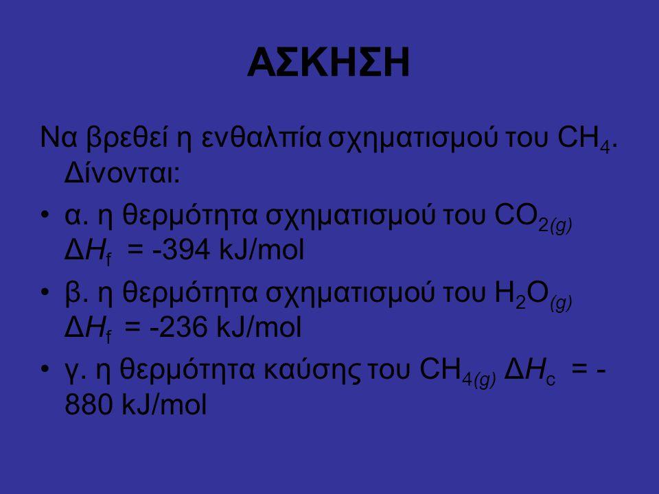 ΑΣΚΗΣΗ Να βρεθεί η ενθαλπία σχηματισμού του CH 4. Δίνονται: α. η θερμότητα σχηματισμού του CO 2(g) ΔΗ f = -394 kJ/mol β. η θερμότητα σχηματισμού του H