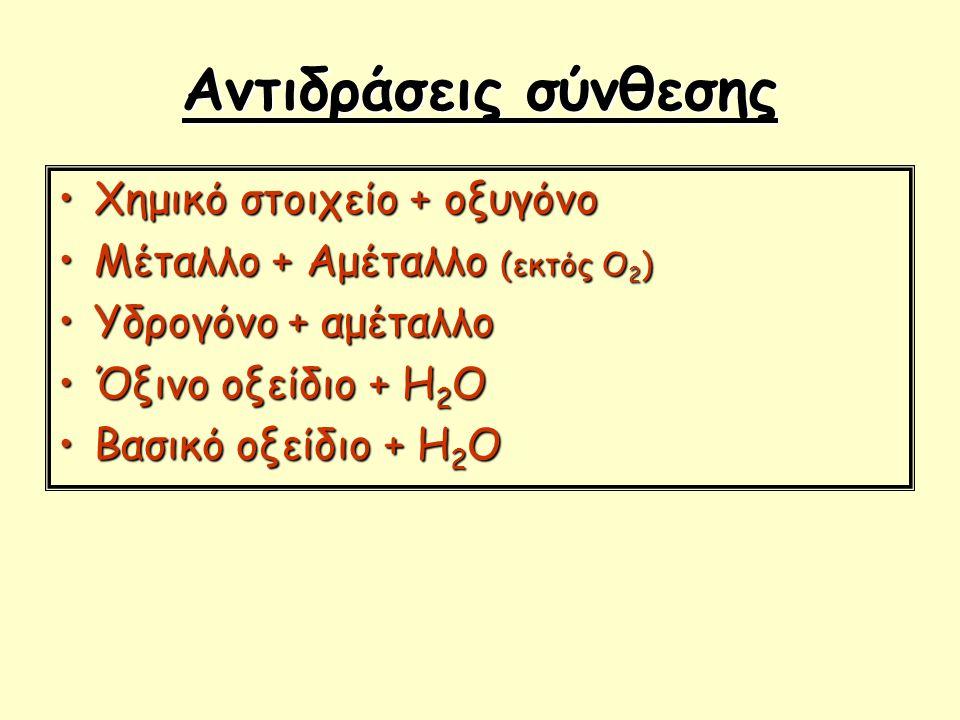 Αντιδράσεις σύνθεσης Χημικό στοιχείο + οξυγόνοΧημικό στοιχείο + οξυγόνο Μέταλλο + Αμέταλλο (εκτός Ο 2 )Μέταλλο + Αμέταλλο (εκτός Ο 2 ) Υδρογόνο + αμέτ