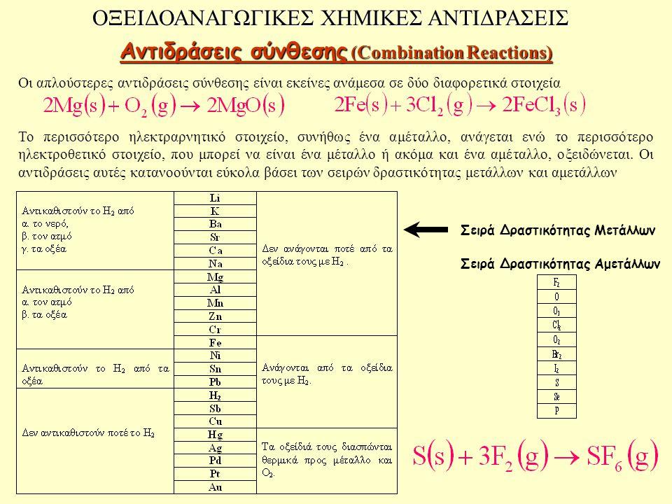 ΟΞΕΙΔΟΑΝΑΓΩΓΙΚΕΣ ΧΗΜΙΚΕΣ ΑΝΤΙΔΡΑΣΕΙΣ Αντιδράσεις σύνθεσης (Combination Reactions) Οι απλούστερες αντιδράσεις σύνθεσης είναι εκείνες ανάμεσα σε δύο δια