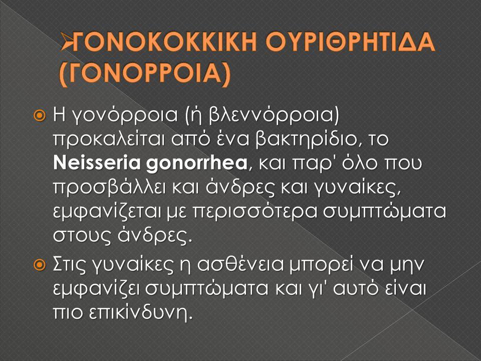  Η γονόρροια (ή βλεννόρροια) προκαλείται από ένα βακτηρίδιο, το Neisseria gonorrhea, και παρ όλο που προσβάλλει και άνδρες και γυναίκες, εμφανίζεται με περισσότερα συμπτώματα στους άνδρες.