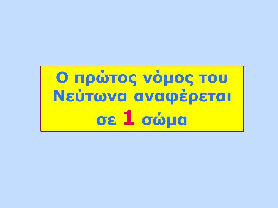 Ο πρώτος νόμος του Νεύτωνα αναφέρεται σε 1 σώμα