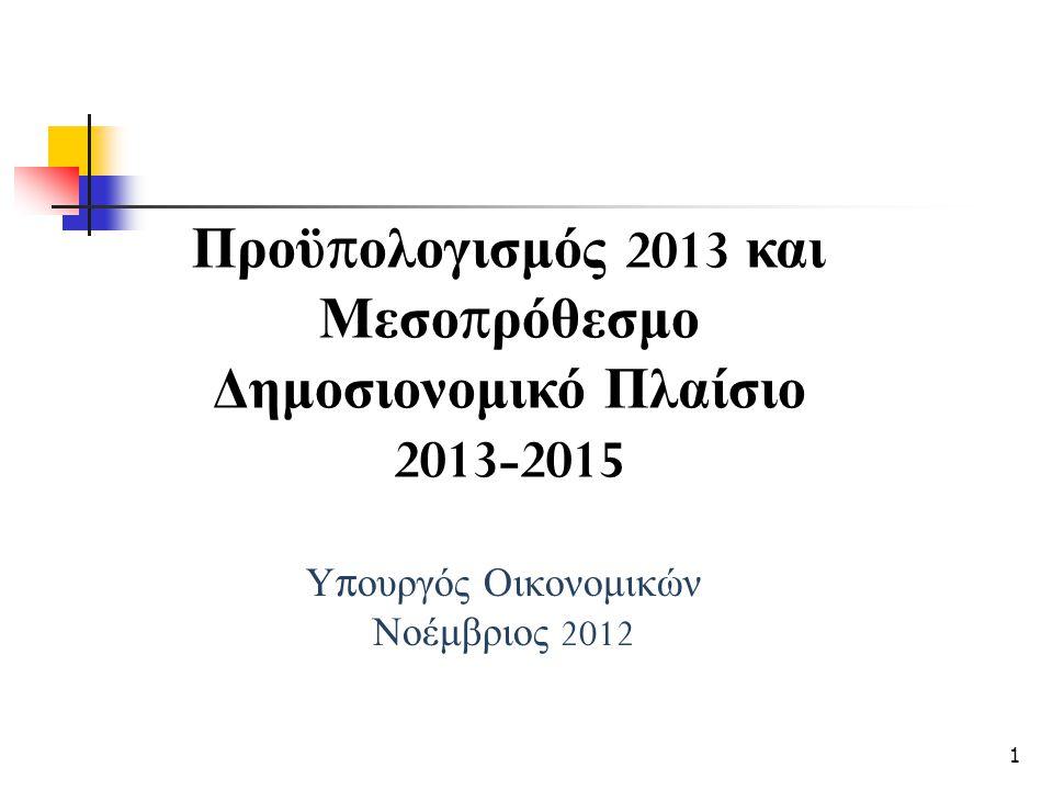 Υ π ουργός Οικονομικών Νοέμβριος 2012 Προϋ π ολογισμός 2013 και Μεσο π ρόθεσμο Δημοσιονομικό Πλαίσιο 2013-2015 1