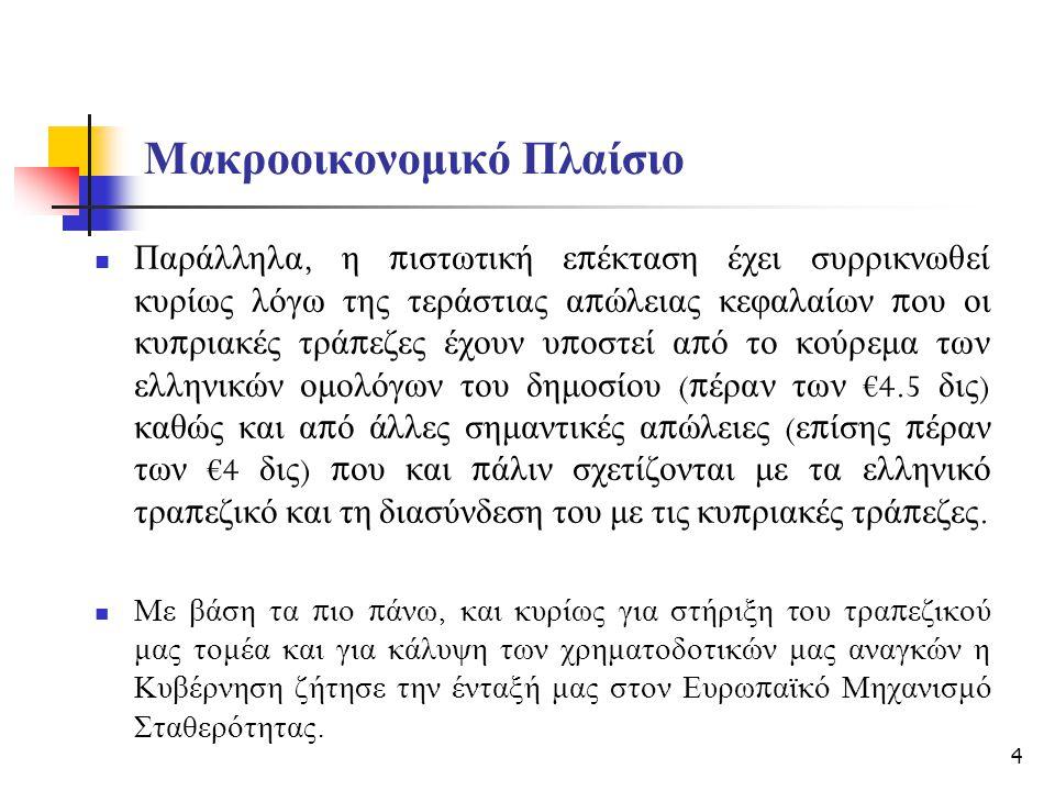 Μακροοικονομικό Πλαίσιο Παράλληλα, η π ιστωτική ε π έκταση έχει συρρικνωθεί κυρίως λόγω της τεράστιας α π ώλειας κεφαλαίων π ου οι κυ π ριακές τρά π εζες έχουν υ π οστεί α π ό το κούρεμα των ελληνικών ομολόγων του δημοσίου (π έραν των €4.5 δις ) καθώς και α π ό άλλες σημαντικές α π ώλειες ( ε π ίσης π έραν των €4 δις ) π ου και π άλιν σχετίζονται με τα ελληνικό τρα π εζικό και τη διασύνδεση του με τις κυ π ριακές τρά π εζες.