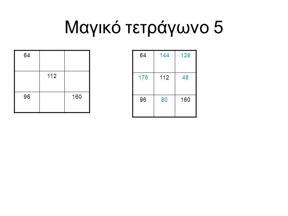Μαγικό τετράγωνο 5 64 112 96160 64144128 17611248 9680160