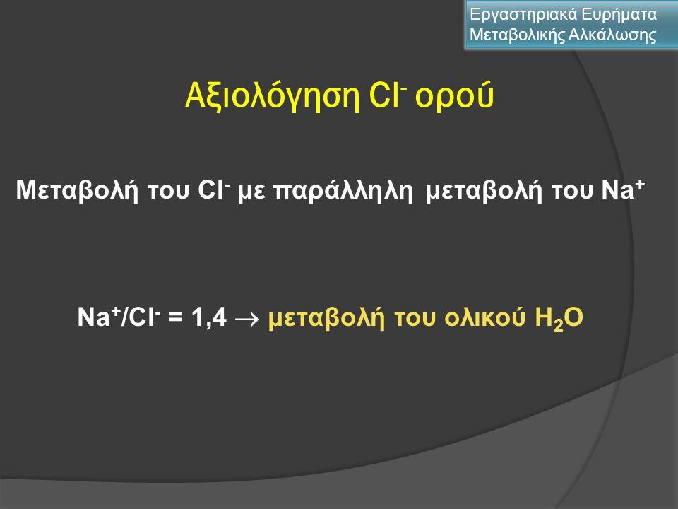 Αξιολόγηση Cl - ορού Εργαστηριακά Ευρήματα Μεταβολικής Αλκάλωσης Μεταβολή του Cl - με παράλληλη μεταβολή του Νa + Νa + /Cl - = 1,4  μεταβολή του ολικ