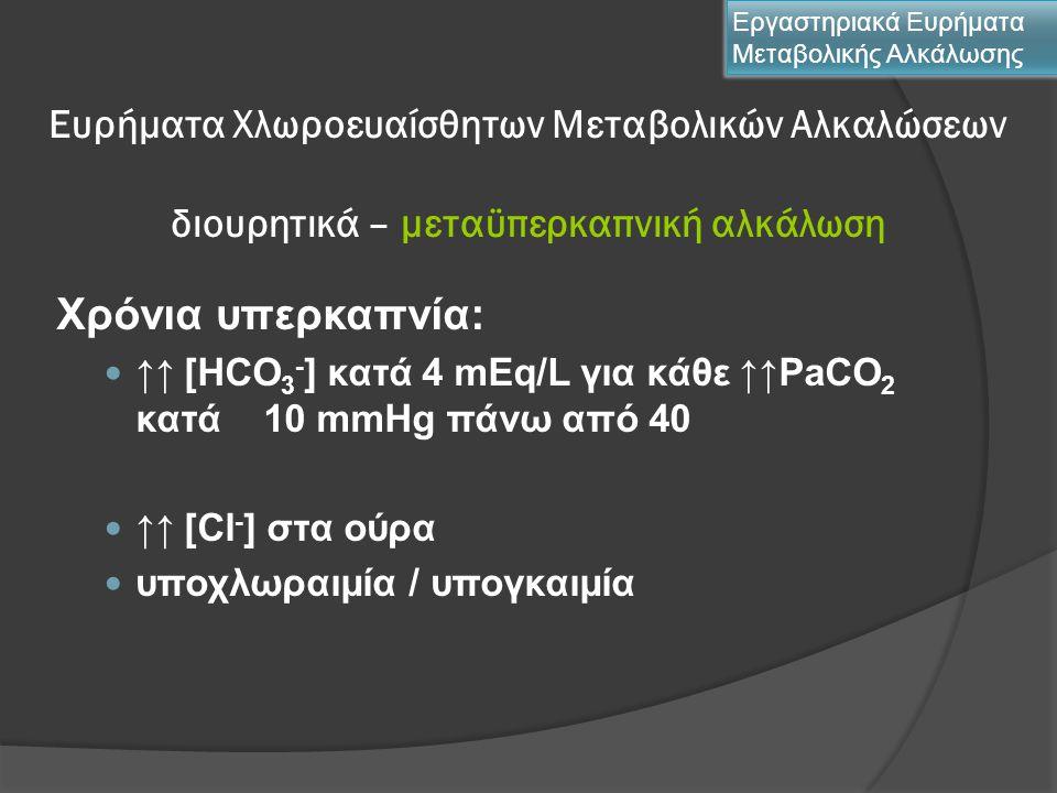 Ευρήματα Χλωροευαίσθητων Μεταβολικών Αλκαλώσεων διουρητικά – μεταϋπερκαπνική αλκάλωση Χρόνια υπερκαπνία: ↑↑ [HCO 3 - ] κατά 4 mEq/L για κάθε ↑↑PaCO 2
