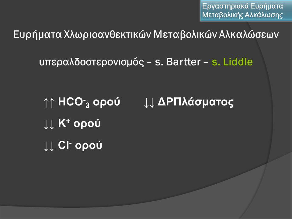 Ευρήματα Χλωριοανθεκτικών Μεταβολικών Αλκαλώσεων υπεραλδοστερονισμός – s. Bartter – s. Liddle Εργαστηριακά Ευρήματα Μεταβολικής Αλκάλωσης ↑↑ HCO - 3 ο