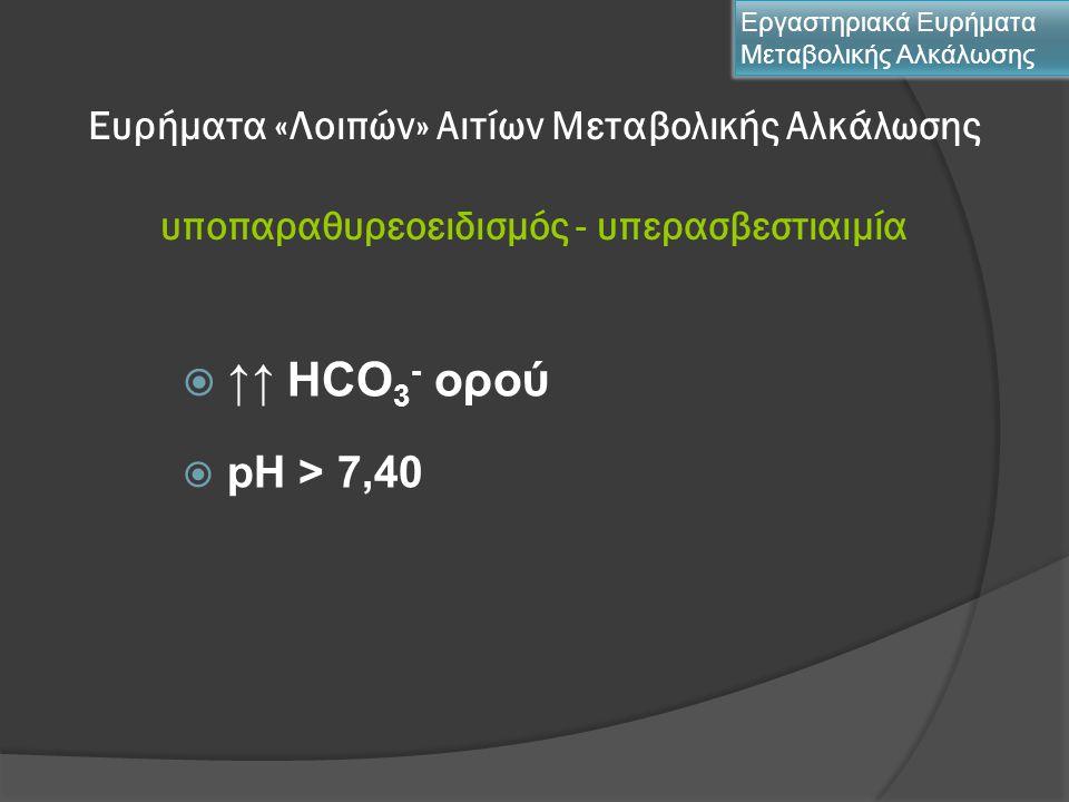 Ευρήματα «Λοιπών» Αιτίων Μεταβολικής Αλκάλωσης υποπαραθυρεοειδισμός - υπερασβεστιαιμία  ↑↑ HCO 3 - ορού  pH > 7,40 Εργαστηριακά Ευρήματα Μεταβολικής
