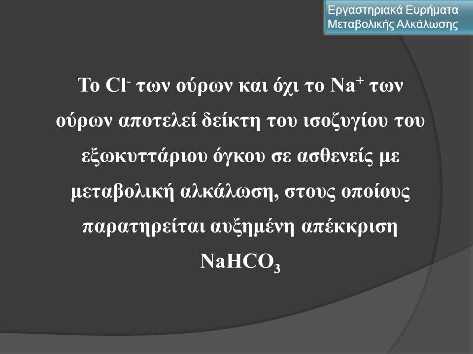 Αξιολόγηση Cl - ορού Εργαστηριακά Ευρήματα Μεταβολικής Αλκάλωσης Μεταβολή του Cl - με παράλληλη μεταβολή του Νa + Νa + /Cl - = 1,4  μεταβολή του ολικού Η 2 Ο