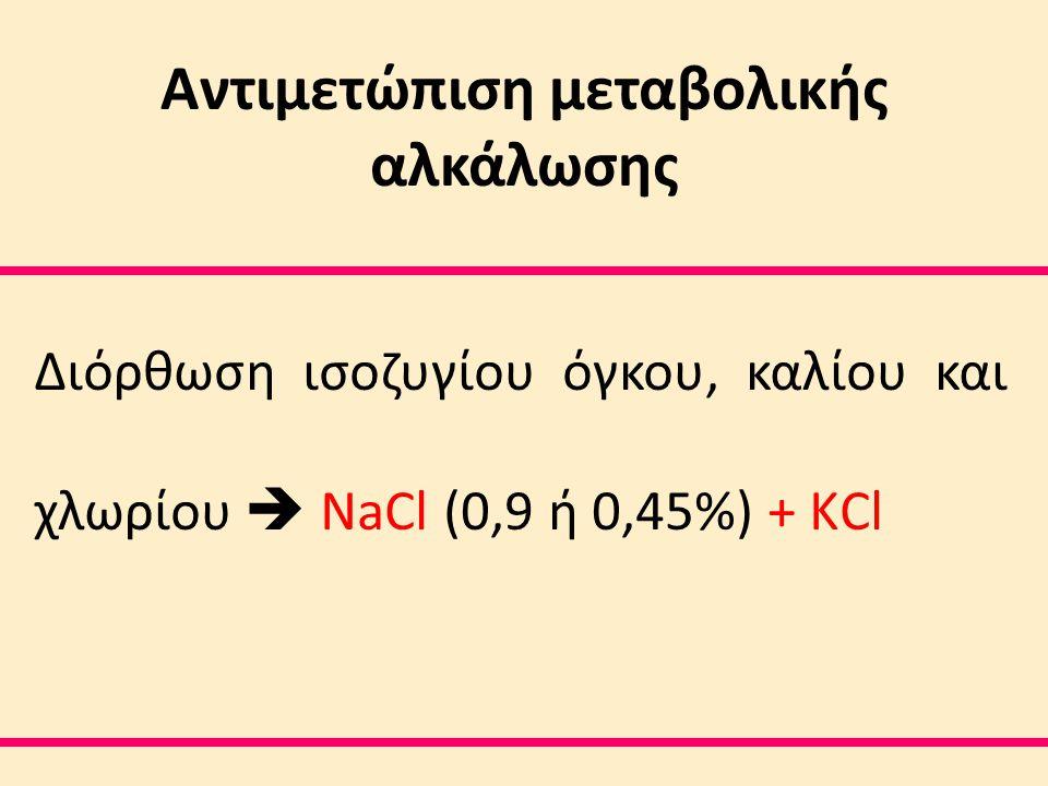 Αντιμετώπιση μεταβολικής αλκάλωσης Διόρθωση ισοζυγίου όγκου, καλίου και χλωρίου  NaCl (0,9 ή 0,45%) + ΚCl
