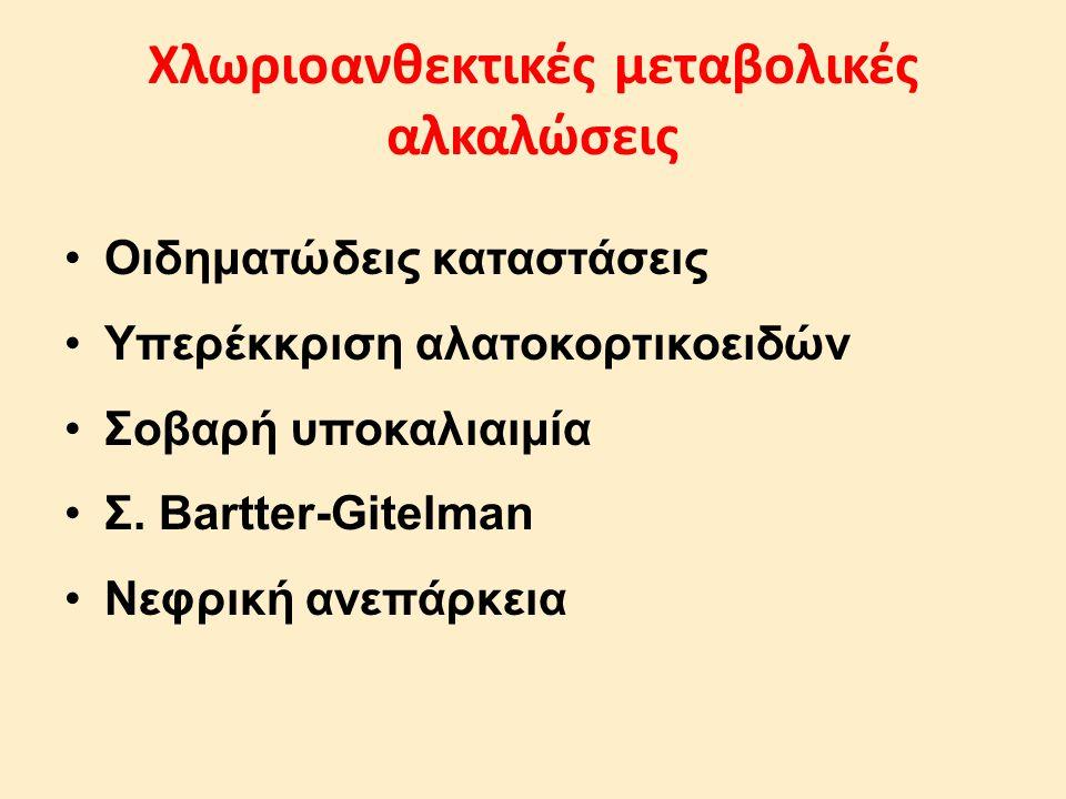 Οιδηματώδεις καταστάσεις Υπερέκκριση αλατοκορτικοειδών Σοβαρή υποκαλιαιμία Σ. Bartter-Gitelman Νεφρική ανεπάρκεια