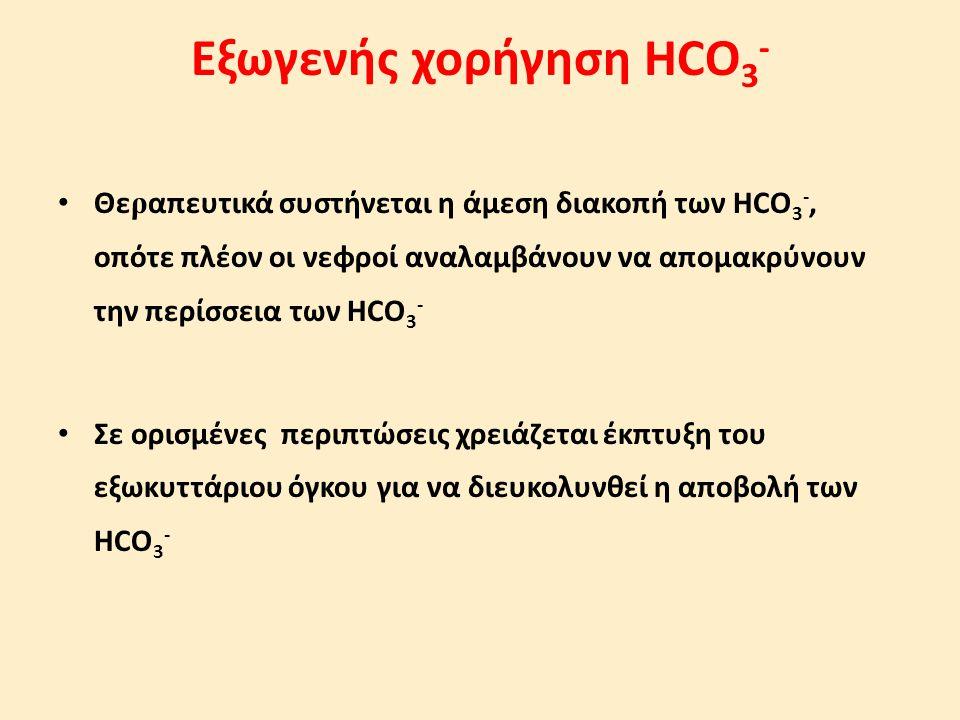 Εξωγενής χορήγηση HCO 3 - Θε ρ απευτικά συστήνεται η άμεση διακοπή των HCO 3 -, οπότε πλέον οι νεφροί αναλαμβάνουν να απομακρύνουν την περίσσεια των H