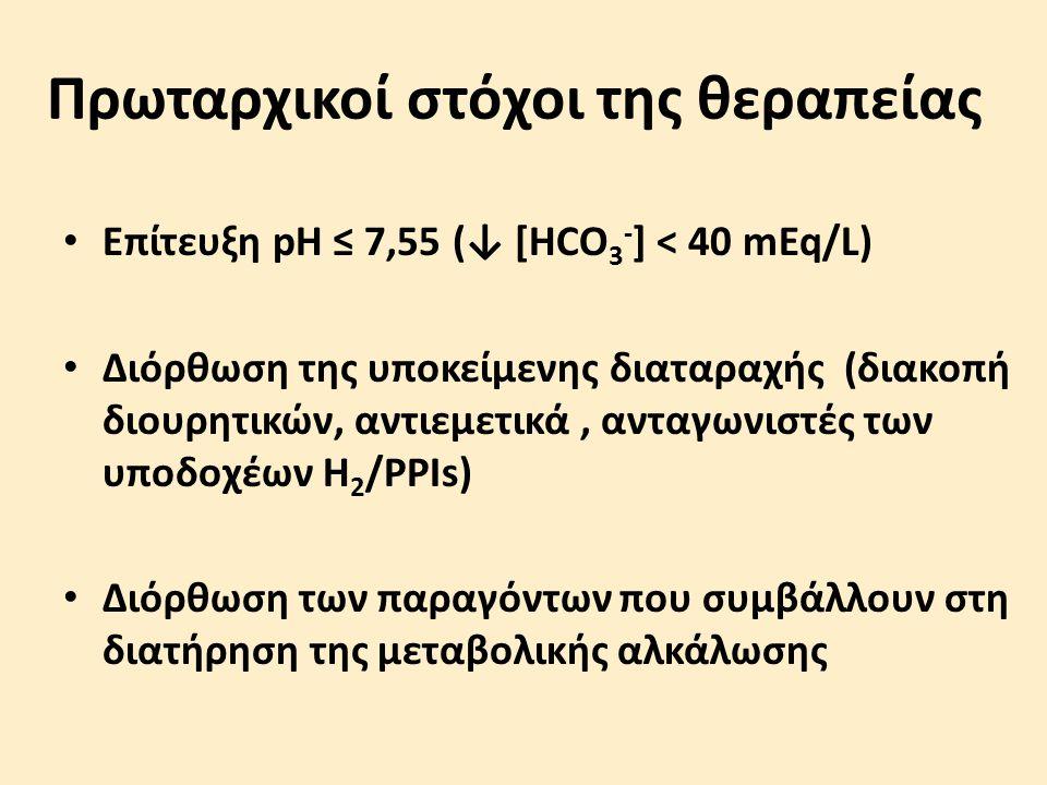 Πρωταρχικοί στόχοι της θεραπείας Επίτευξη pH ≤ 7,55 (↓ [HCO 3 - ] < 40 mEq/L) Διόρθωση της υποκείμενης διαταραχής (διακοπή διουρητικών, αντιεμετικά, α