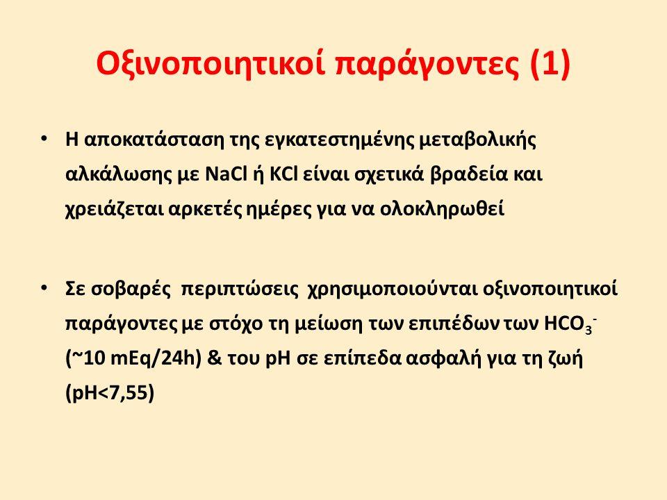 Οξινοποιητικοί παράγοντες (1) Η αποκατάσταση της εγκατεστημένης μεταβολικής αλκάλωσης με NaCl ή KCl είναι σχετικά βραδεία και χρειάζεται αρκετές ημέρε