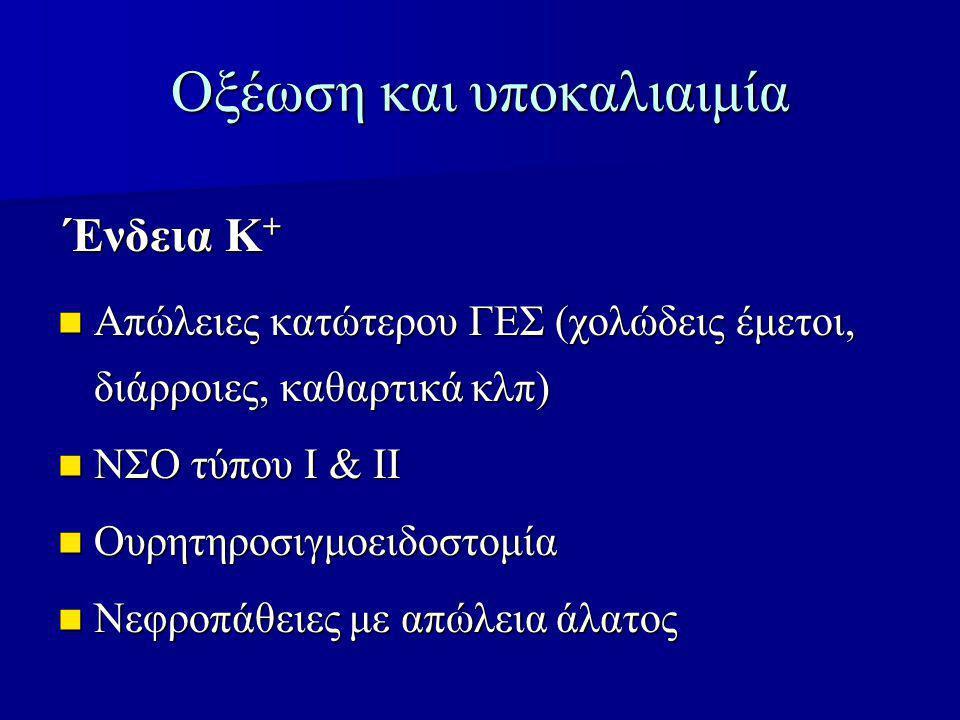 Οξέωση και υποκαλιαιμία Απώλειες κατώτερου ΓΕΣ (χολώδεις έμετοι, διάρροιες, καθαρτικά κλπ) Απώλειες κατώτερου ΓΕΣ (χολώδεις έμετοι, διάρροιες, καθαρτικά κλπ) ΝΣΟ τύπου Ι & ΙΙ ΝΣΟ τύπου Ι & ΙΙ Ουρητηροσιγμοειδοστομία Ουρητηροσιγμοειδοστομία Νεφροπάθειες με απώλεια άλατος Νεφροπάθειες με απώλεια άλατος Ένδεια Κ +