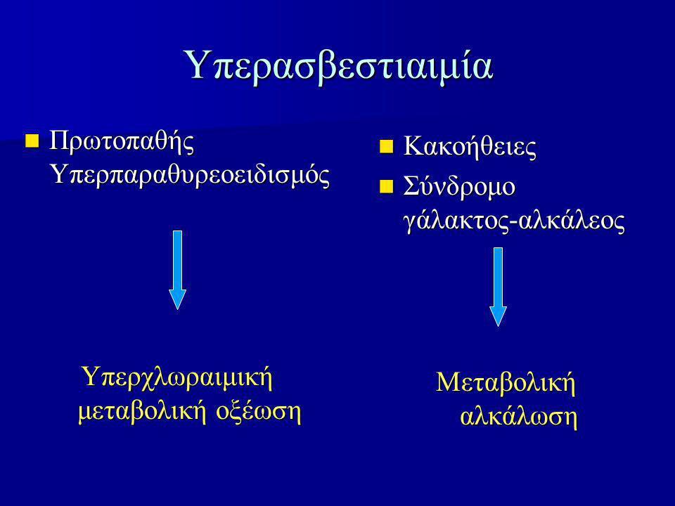 Υπερασβεστιαιμία Πρωτοπαθής Υπερπαραθυρεοειδισμός Πρωτοπαθής Υπερπαραθυρεοειδισμός Υπερχλωραιμική μεταβολική οξέωση Κακοήθειες Κακοήθειες Σύνδρομο γάλακτος-αλκάλεος Σύνδρομο γάλακτος-αλκάλεος Μεταβολική αλκάλωση