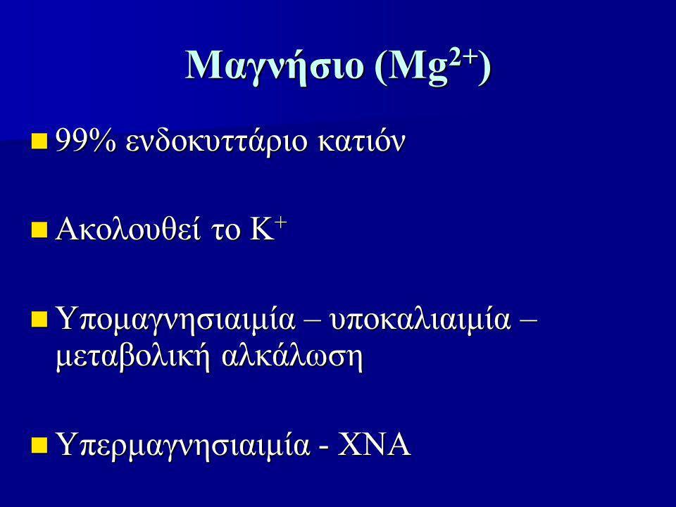Μαγνήσιο (Mg 2+ ) 99% ενδοκυττάριο κατιόν 99% ενδοκυττάριο κατιόν Ακολουθεί το Κ + Ακολουθεί το Κ + Υπομαγνησιαιμία – υποκαλιαιμία – μεταβολική αλκάλω