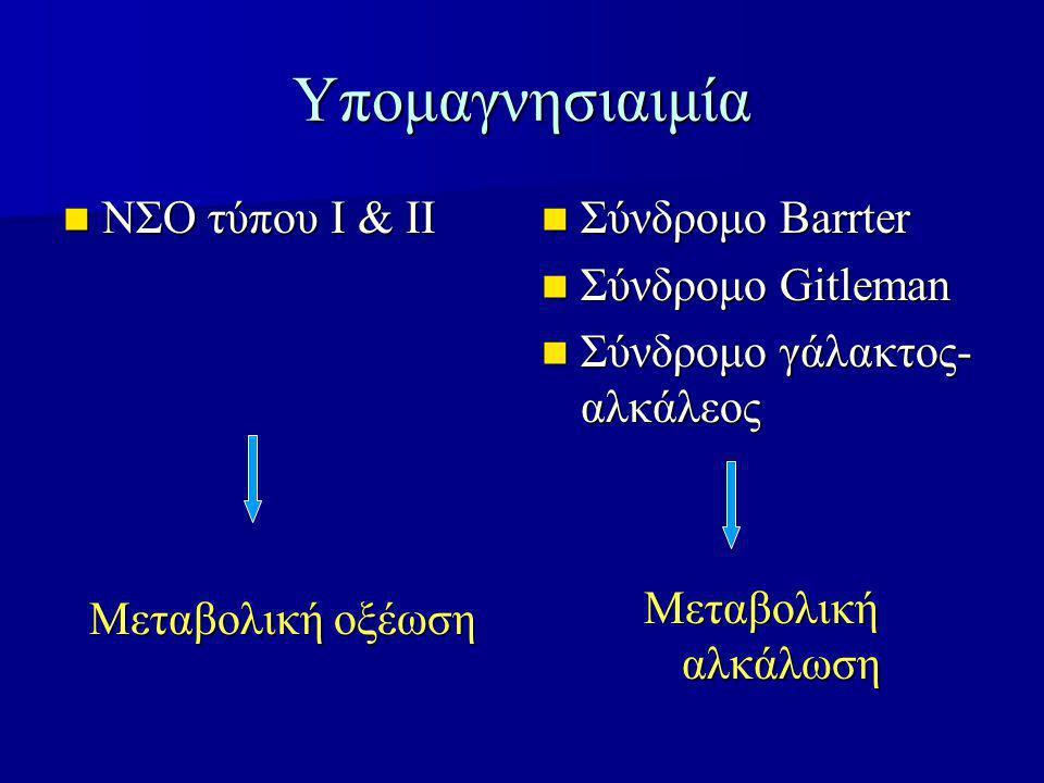 Υπομαγνησιαιμία ΝΣΟ τύπου Ι & ΙΙ ΝΣΟ τύπου Ι & ΙΙ Μεταβολική οξέωση Σύνδρομο Barrter Σύνδρομο Barrter Σύνδρομο Gitleman Σύνδρομο Gitleman Σύνδρομο γάλακτος- αλκάλεος Σύνδρομο γάλακτος- αλκάλεος Μεταβολική αλκάλωση