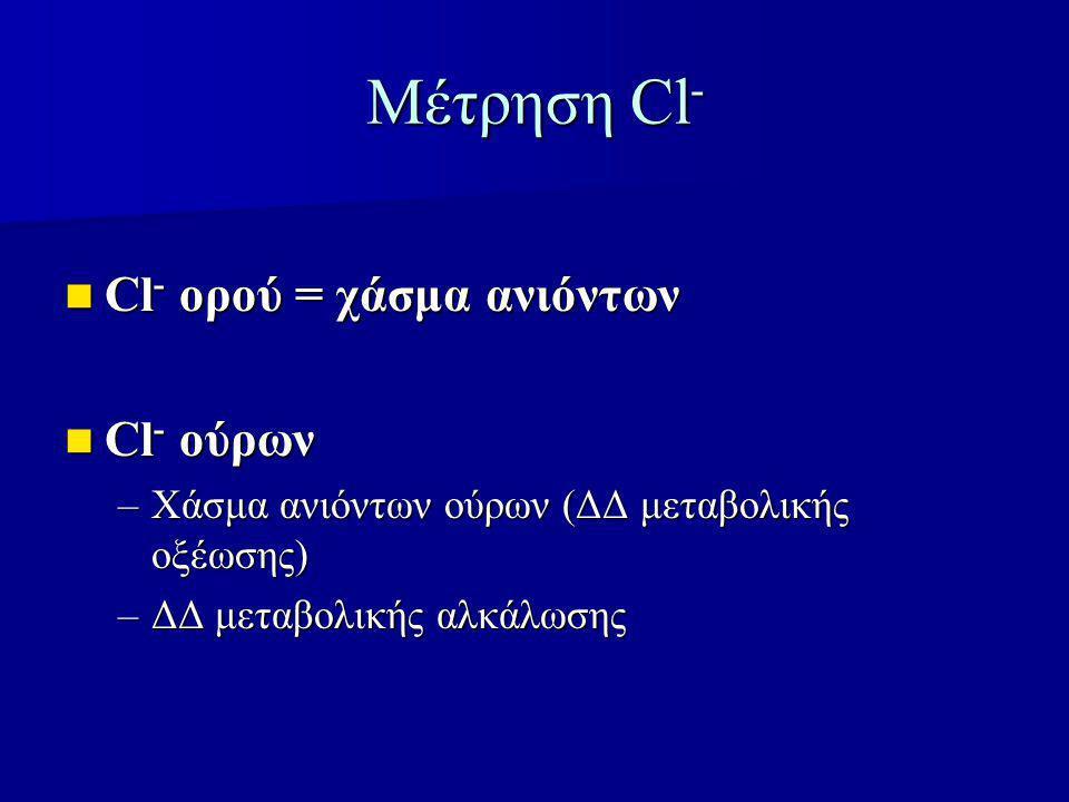 Μέτρηση Cl - Cl - ορού = χάσμα ανιόντων Cl - ορού = χάσμα ανιόντων Cl - ούρων Cl - ούρων –Χάσμα ανιόντων ούρων (ΔΔ μεταβολικής οξέωσης) –ΔΔ μεταβολικής αλκάλωσης