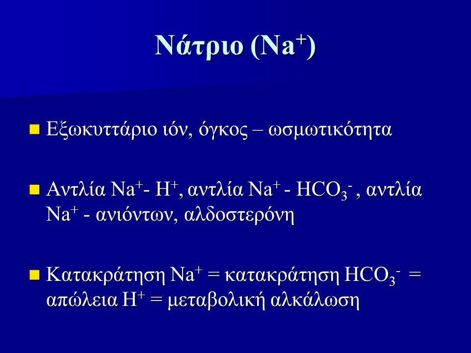 Νάτριο (Νa + ) Εξωκυττάριο ιόν, όγκος – ωσμωτικότητα Εξωκυττάριο ιόν, όγκος – ωσμωτικότητα Αντλία Νa + - Η +, αντλία Νa + - ΗCΟ 3 -, αντλία Νa + - ανιόντων, αλδοστερόνη Αντλία Νa + - Η +, αντλία Νa + - ΗCΟ 3 -, αντλία Νa + - ανιόντων, αλδοστερόνη Κατακράτηση Νa + = κατακράτηση ΗCΟ 3 - = απώλεια Η + = μεταβολική αλκάλωση Κατακράτηση Νa + = κατακράτηση ΗCΟ 3 - = απώλεια Η + = μεταβολική αλκάλωση