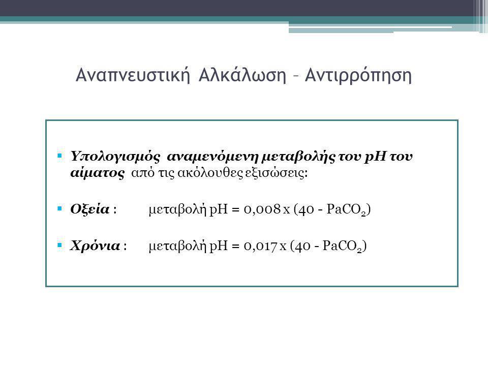 Αναπνευστική Αλκάλωση – Αντιρρόπηση  Υπολογισμός αναμενόμενη μεταβολής του pH του αίματος από τις ακόλουθες εξισώσεις:  Οξεία :μεταβολή pH = 0,008 x