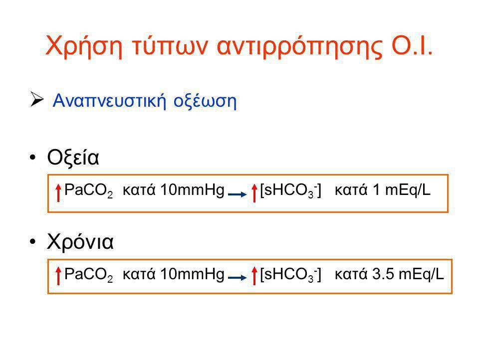 Χρήση τύπων αντιρρόπησης Ο.Ι.  Αναπνευστική οξέωση Οξεία PaCO 2 κατά 10mmHg [sHCO 3 - ] κατά 1 mEq/L Χρόνια PaCO 2 κατά 10mmHg [sHCO 3 - ] κατά 3.5 m